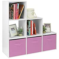 Hartleys White 6 Cube Unit & 3 Pink Storage Drawers