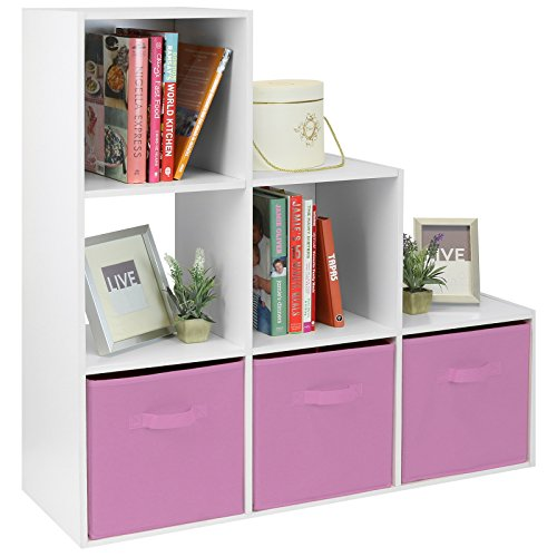 Hartleys mobile bianca con 6 cubi e 3 cassetti rosa