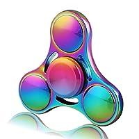 Hand Spinner Toy, Rainbow Metal High Speed Tri-Spinner Fidget