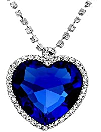 Sapphire Blue Heart Of The Ocean Titanic Necklace Pendant with Chain Austrian Crystal 18K White Gold Plated Romantic Love Party Wear Jewellery for Women by Caratcube (CTC - 0015)