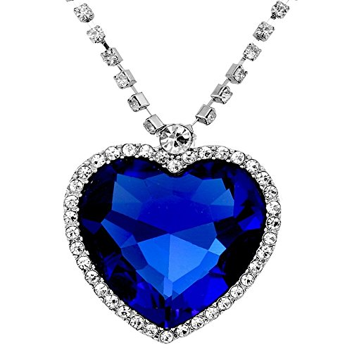 Caratcube Sapphire Blue Austrian Crystal Heart Of The Ocean Titanic Pendant for Women (CTC - 15)