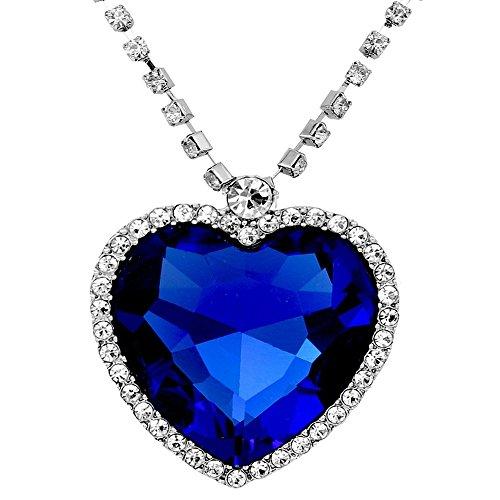 Caratcube Sapphire Blue Austrian Crystal Heart Of The Ocean Titanic Pendant for...