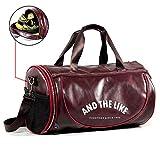 wewo Bolsas de Deporte con Gabinete para Zapatos Hombre Impermeable Bolsa de Viaje Cuero Bolsos Gimnasio Duffels Bolso Mano Plegable (Rojo)