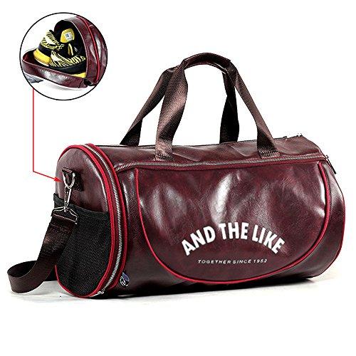 Wewo borsone da viaggio uomo borsa palestra tracolla pelle borse sport grande capacità impermeabile donna weekend bag pieghevole resistente (rosso)
