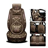 A Hochwertige Stickerei Nette Frauen Cartoon Autositz Vier Jahreszeiten Universal Kissenbezug Autozubehör, Brown