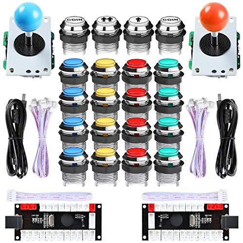 Hikig LED Arcade DIY Kit, 2X Null Verzögerung USB Encoder + 2X 8 Wege Joystick + 16x Verchromte LED Taster mit 1P / 2P-Münzen Button für Mame Windows & Raspberry Pi Spiele
