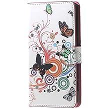 Huawei G8 Carcasa-PU Cuero Cartera [Book-Style] Funda Carcasa de Piel para Huawei G8/Huawei GX 8 5.5'' Pulgadas Flip Case Cover,Coloridas mariposas