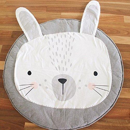GWELL Baby Baumwolle Krabbeldecke groß und weich gepolstert Spielen Teppich mit Plüsch Säugling Kleinkind Spieldecke Kinderzimmer ca. 90 x 90cm Grau Häschen (Das Häschen-spiel)