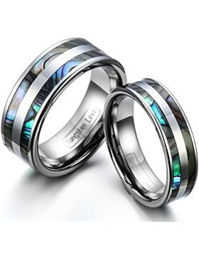JewelryWe Schmuck 1 Paar Wolfram Wolframcarbid Poliert mit Abalone Muscheln Inlay Partnerringe Freundschaftsringe...