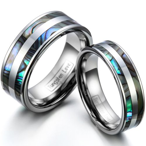JewelryWe His & Her's 8MM/6MM Double Abalone Inlay Tungsten Carbide Wedding Band Ring Bridal Set, Sizes H-Z+4, E-mail Sizes