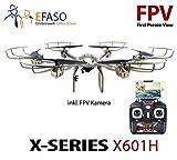 efaso FPV Hexacopter MJX X601H gold - 2,4 GHz WiFi Drohne mit Liveübertragung auf Smartphones, Kamera, Höhenbarometer, One-Key-Return Funktion, Headless Mode, Flugroutenplanung,Virtual Reality 3D fähig, Rotorschutz und LED Beleuchtung