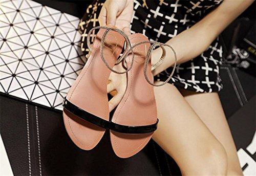 pengweiI sandali delle signore dell'inarcamento di estate tagliano le pattini della punta rotonda della parte inferiore piatta semplice 2