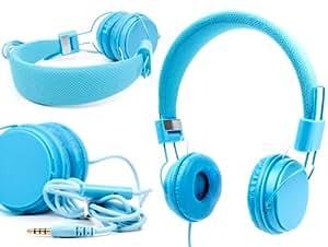 """DURAGADGET casque réglable bleu pour enfant, compatible avec les tablettes Polaroid Infinite 7"""",10.1"""", Rainbow + et I – repliable avec microphone intégré"""