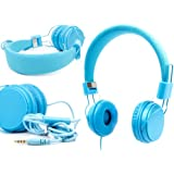 Casque bleu enfant pour tablettes tactiles Archos 70, 80b et 101 Helium – réglable et repliable avec microphone intégré – DURAGADGET