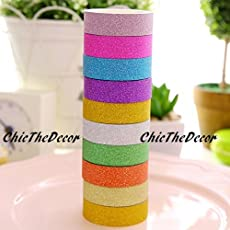 ChicTheDecor Colourful Decorative Adhesive Glitter Tape Rolls, Length 3m Each, Set of 10 Colors As per Availability Multicolor (Glitter)