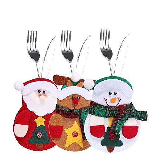 9 bustine pcs per posate, tre design babbo natale, renne, pupazzo di neve per la tavola delle decorazioni natalizie