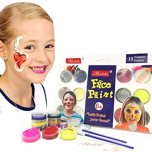 (Minikiki Body Paint, 12 Cols Gesichtsfarbe, Kindergesichtsmalerei, Waschbar Gesichtsfarbe, Kinder Make-up, Non Toxic Body Painting, Ideal für WM, Halloween, Weihnachten, Geburtstagsfeiern)