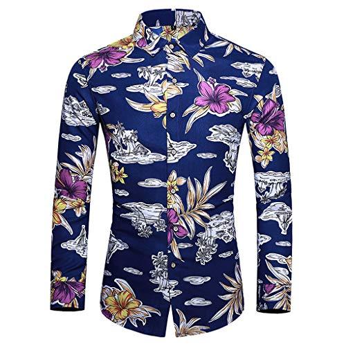 Herren Fashion Baumwolle Mehrfarbig Luxuriös Blumen Langarm Shirt Hemd Langarm/Kurzarm Hawaiihemd Party Sommer Freizeithemd Größe,M-5XL