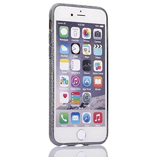 Etsue Glitzer TPU Schutzhülle für iPhone 6S/iPhone 6 (4.7 Zoll) Silikon Handyhülle, Luxus Glitter TPU Hybrid Schutzhülle Ultra Dünn Glänzend Schale Bing Soft Rückseite Bumper Sparkles Handytasche Krat Silber Grau
