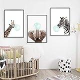 Nordic Ideas 3 Posters Girafe Zèbre éléphant Animaux Affiches Decoration Chambre Bebe Tableau Enfants Décorations Murales Impression sur Toile sans Cadre PTANB002-L