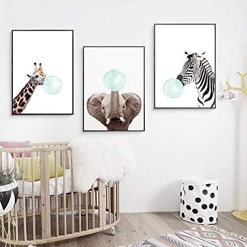 3 Pósteres Jirafa Cebra Elefante Laminas Bebe Habitacion