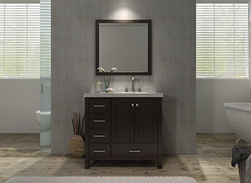 Cambridge 37 Single Sink Vanity Set w/ Right Offset Sink in Espresso by Ariel Bath
