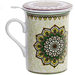 Taza de té con tapa de mandala de Porcelana con Filtro Inoxidable