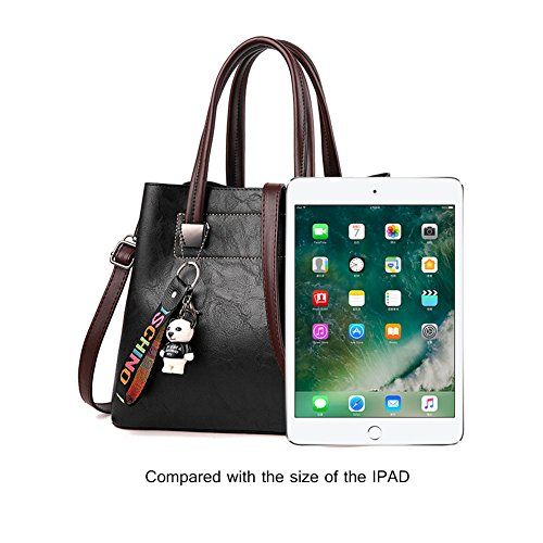 Yoome borse vintage per le donne borse a tracolla retrò per borse a tracolla borsa con bambola dei cartoni animati - marrone Viola