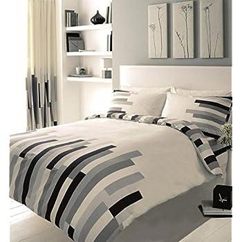 gaveno cavalia luxury blocks duvet set with duvet cover and pillow case creamgrey