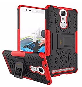 Parallel Universe Lenovo Vibe K5 Note Back Cover Case Dual Layer Rugged and Tough Defender with Built-in Stand - Red