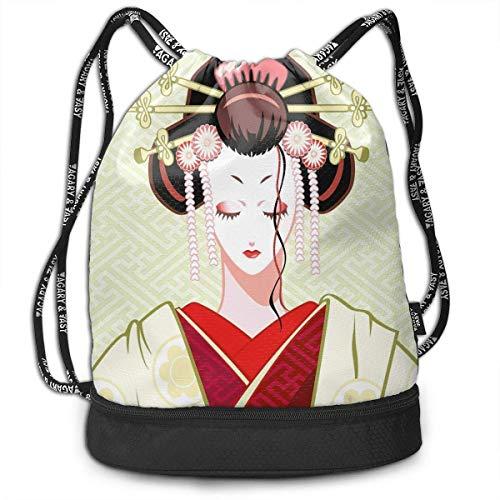 Cupsbags Geisha Woman Portrait School Drawstring Bag Backpack Bundle Backpack Geisha Halloween-make-up