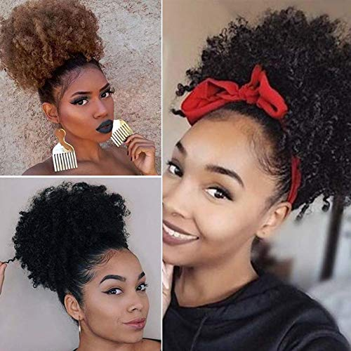 Afro Puff Drawstring Ponytail Synthetic Short Kinky Curly Wig Black Ponytail for Natural Hair Afro Buns Wrap Updo Hair Extension Bun Wrap