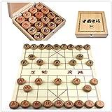 FunnyGoo Chinesisches Schach Beechwood Xiangqi Chinesisches Schachspiel (4cm Durchmesser, mit Holzkiste)