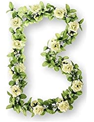 Basil Flower Garland - Guirnalda de plástico con las rosas blancas, 140 cm, multicolor