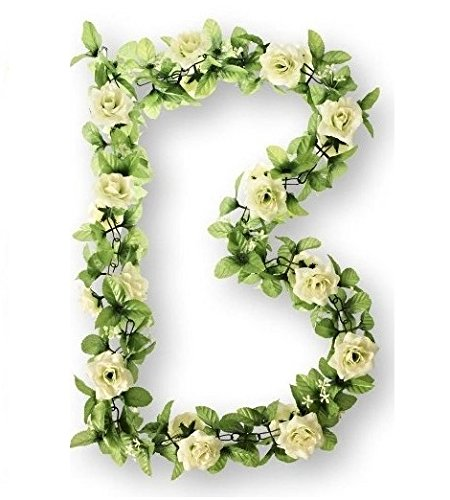 Basil Flower Garland - Guirnalda de plástico con las rosas blancas, 140...