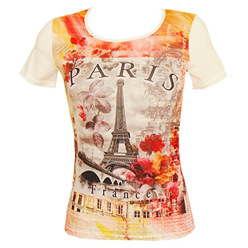 Souvenirs de France - T-Shirt Femme Luxe 'Paris en Fleurs' - Orange, blanc
