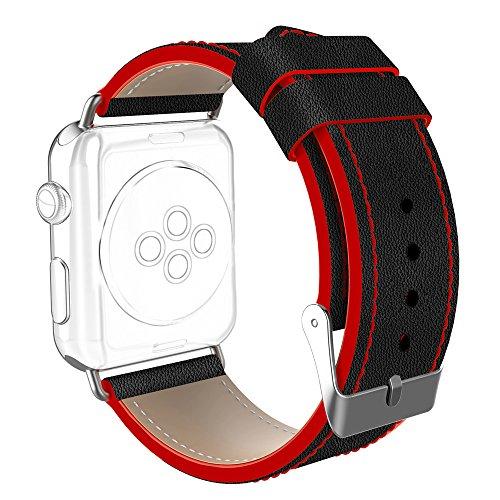 Elegant Armband für Apple Watch 44mm Series 4 42mm Series 3 Series 2 Series 1, DaGeLon Schick Lederarmband Ersatzband Haltbar Leder Uhrenarmband für iWatch Sport Edition Nike+ Hermes, Schwarz Rot -