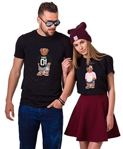 et für Paar Partnerlook Bär Tshirt Partner Pärchen Geschenke Symbolische Liebe für König Königin (Schwarz, King-L + Queen-S) ()
