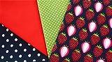 Muster-Mix Erdbeeren dunkelblau 4 x 0,5m 100% Baumwolle