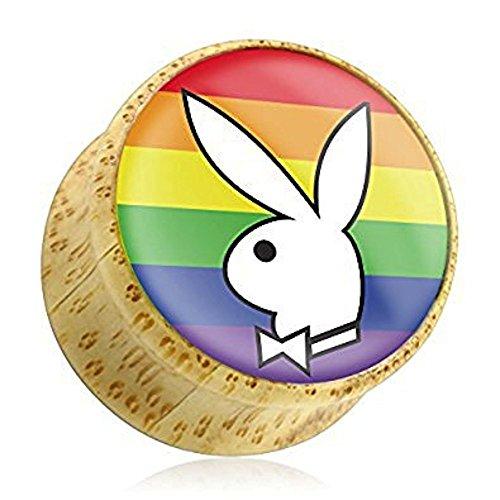 00GA (10 mm) Regenbogen-Playboy Bunny Logo Offizielle Backed Homosexuell Pride Organic Holz Flesh Tunnel-Ohr-Stecker-Sattel (Klassische Playboy Bunny Kostüm)