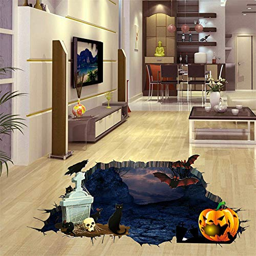 CVB 3D Halloween Friedhof Kürbis Wandaufkleber Für Kinderzimmer Dekoration PVC Aufkleber Tapete Abziehbilder Badezimmer Dekoration