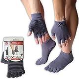 Yogaaddict Yoga-Socken- und Handschuh-Set, für jede Art von Yoga und Pilates, Full Toe Yoga Socks, Grey with Grippy Lines, S/M