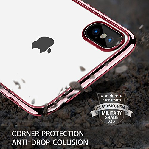 Custodia iPhone X, KKtick iPhone X Cover in Silicone Gel Gomma TPU Sottile Invisibile Slim con Bordo Protezione Fotocamera Case Cover per Apple iPhone X- (Nero) Rosa