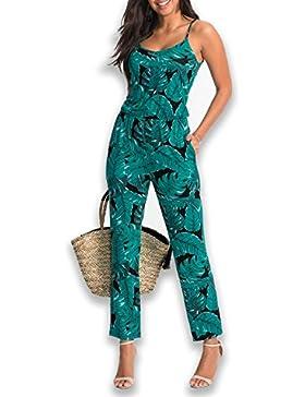 SUNNOW Mujer Verano Hoja Impresión Spaghetti Strap pantalones largos suelta Ajuste Monos