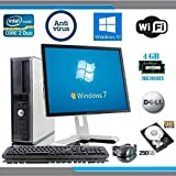 Dell OptiPlex Computer Tower with Dell LCD Black / Silver Monitor - Intel Core 2 Duo CPU - 250GB Hard Drive - 4GB RAM - DVD - Wireless Internet Ready - Keyboard and Mouse - Genuine Windows 10