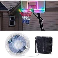 ZQEDY Argolla Luces, LED Baloncesto USA Energía Solar Fosforescente Llanta Impermeable Tira Luces Con 7 Luz Modos, Para Reproducción Entrenamiento Juegos por la Noche Aire Libre