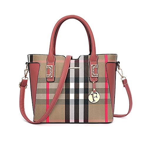 KINGEE-B Art Und Weisefrauen Crossbody Handtasche Plaid Herbst Und Winter Umhängetasche Weibliche Mode Atmosphäre Vielseitige Temperament Handtasche,Pink