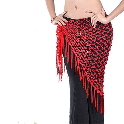 Sexy Bauchtanz Gürtel Münzgürtel Hüfttuch Münztuch Kostüm Tuch Kleid belly dance 8 Farben (Rot) (Tanzen Kostüme Uk)