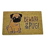 trendaffe Vorsicht vor dem Mops Fußmatte - Beware of the Pug Fußabtreter Schmutzfangmatte Türmatte