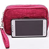Fueerton Multifunction 3 Layers Zipper Key Card Phone Pouch Coin Money Bag Purse Wallet (Wine Red)